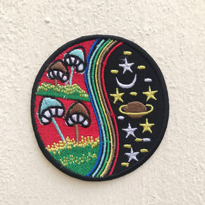 Yin Yang Mushroom Rainbow Red Nature World Galaxy Iron on Sew on Embroidered Patch