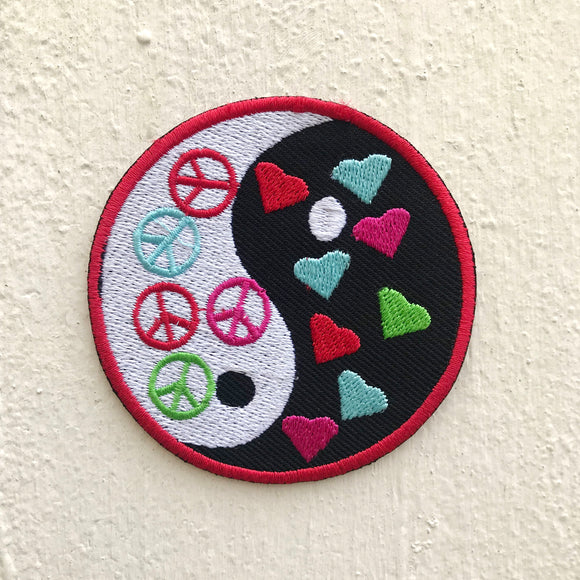 Peace Round Colourful Iron or Sew on Embroidered Patch