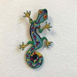 Cool Gecko Lizard Colourful Iron on Sew on Embroidered Patch