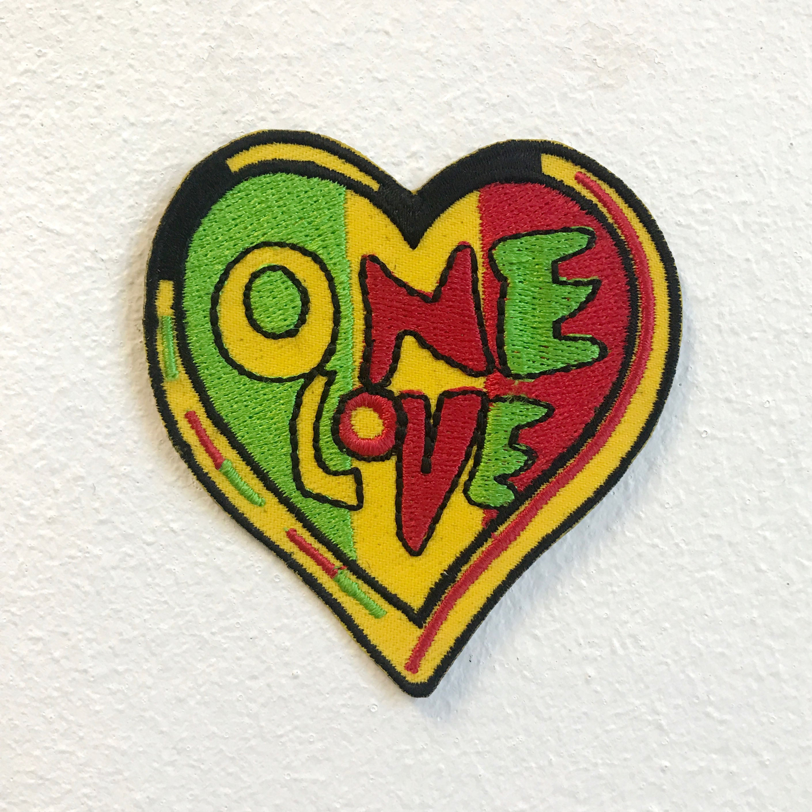 One Love Colourful Rasta Reggae Heart Iron on Sew on Embroidered Patch