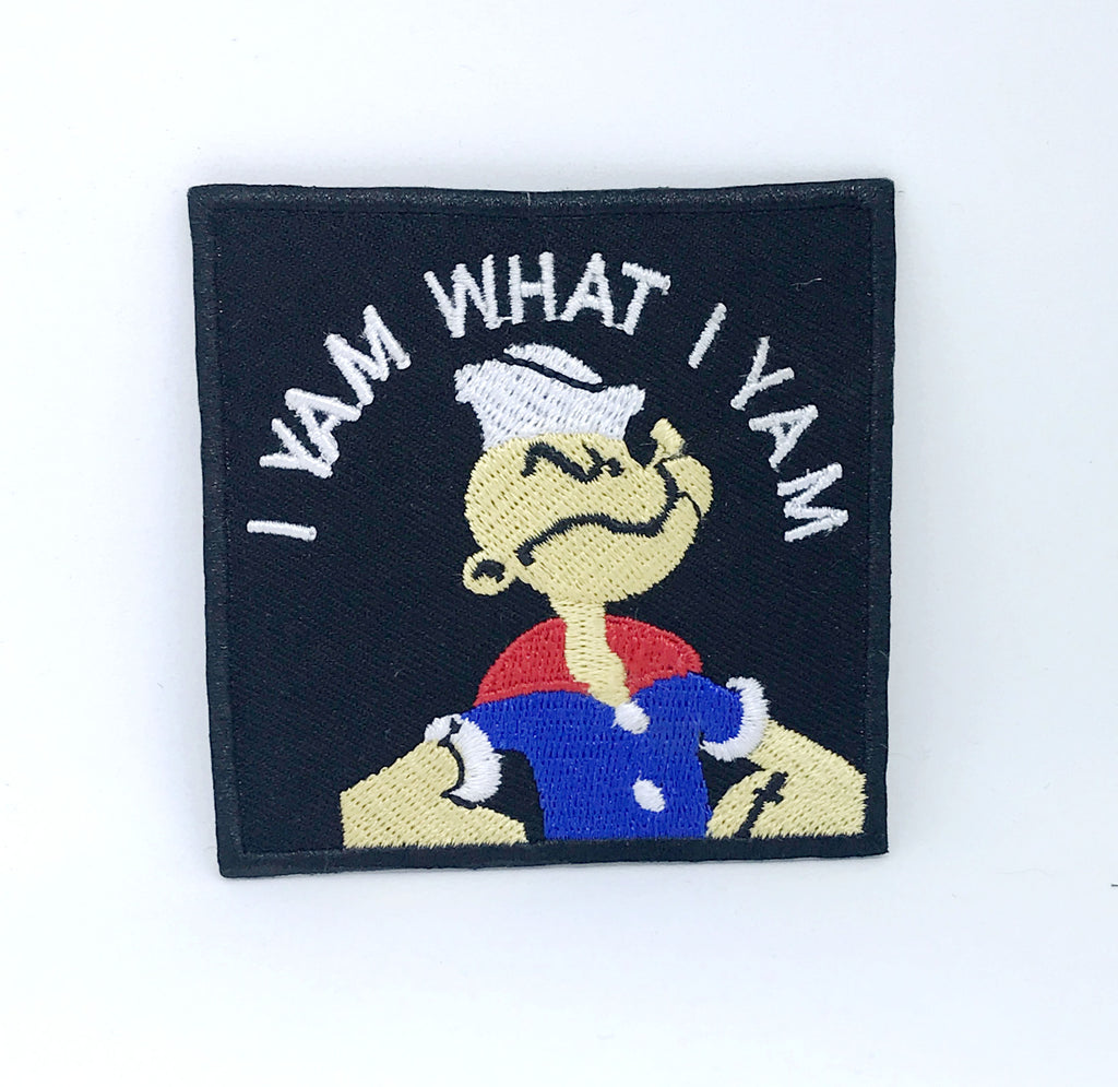 Popeye Cartoon I Yam What I Yam Iron on Sew on Embroidered Patch