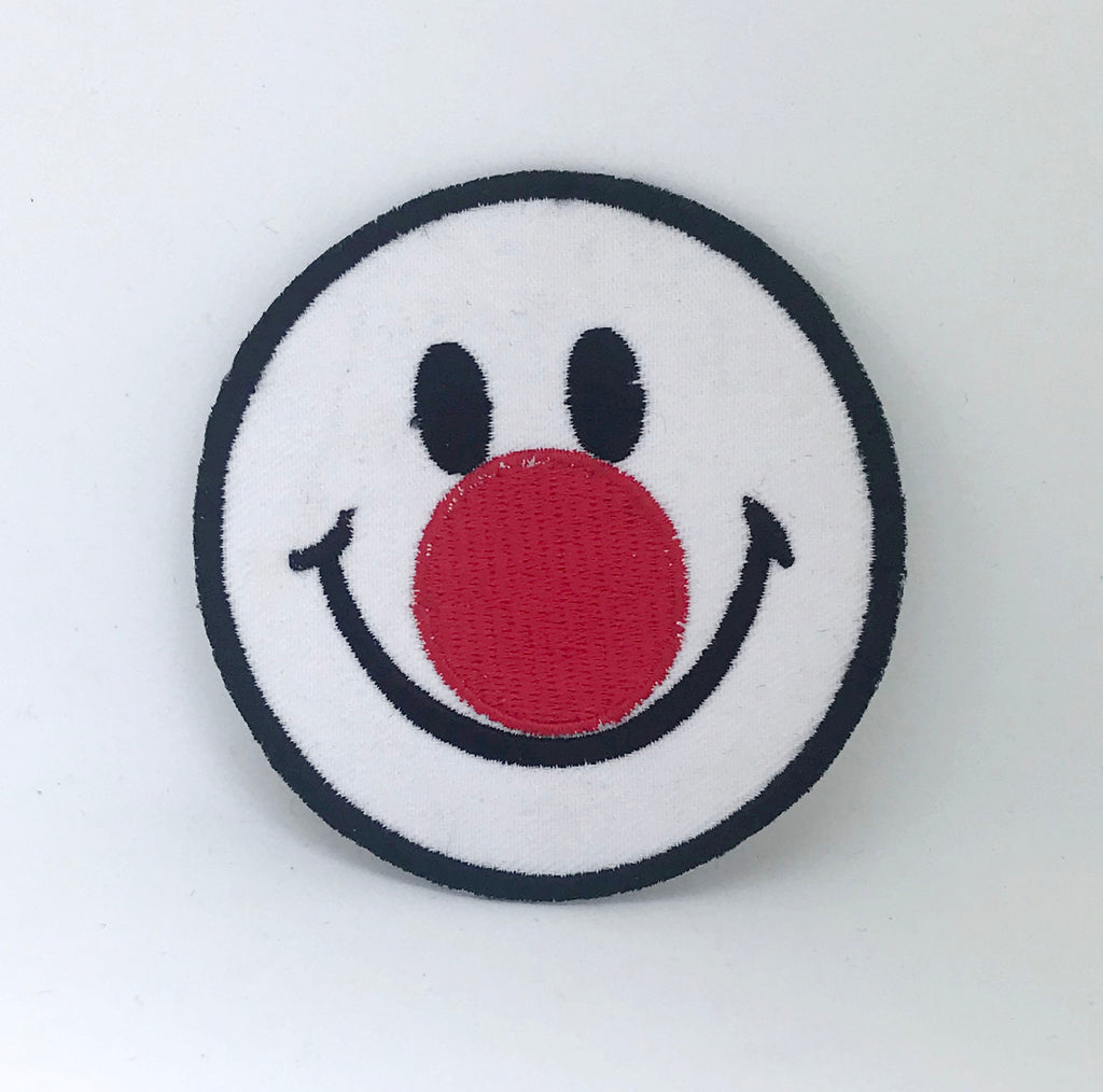 Smiley Face Red nose Iron on sew on Embroidered patch