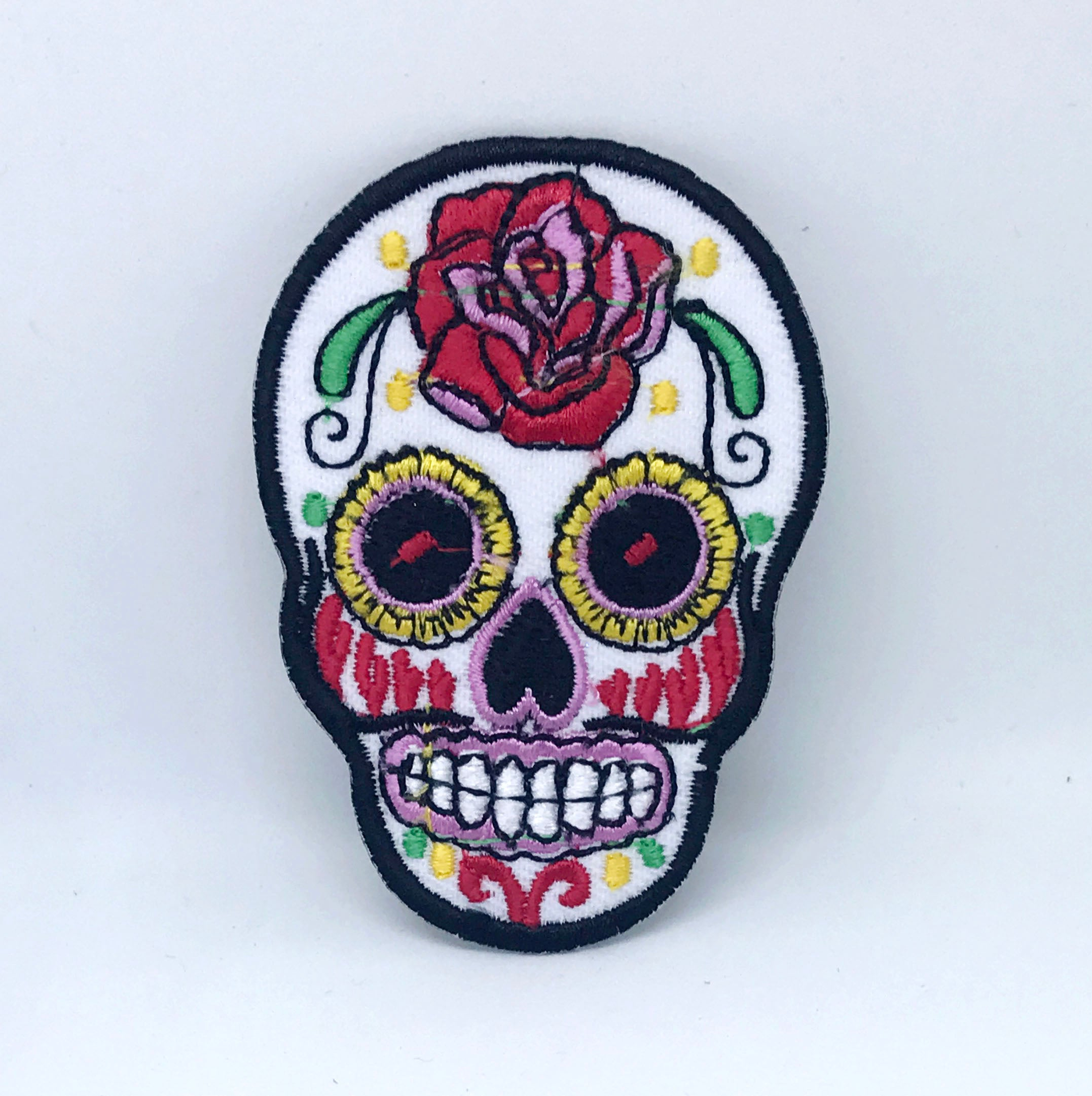 Rose Skeleton Sugar Skull Day of the Dead Mexico Iron on Sew on Embroidered Patch