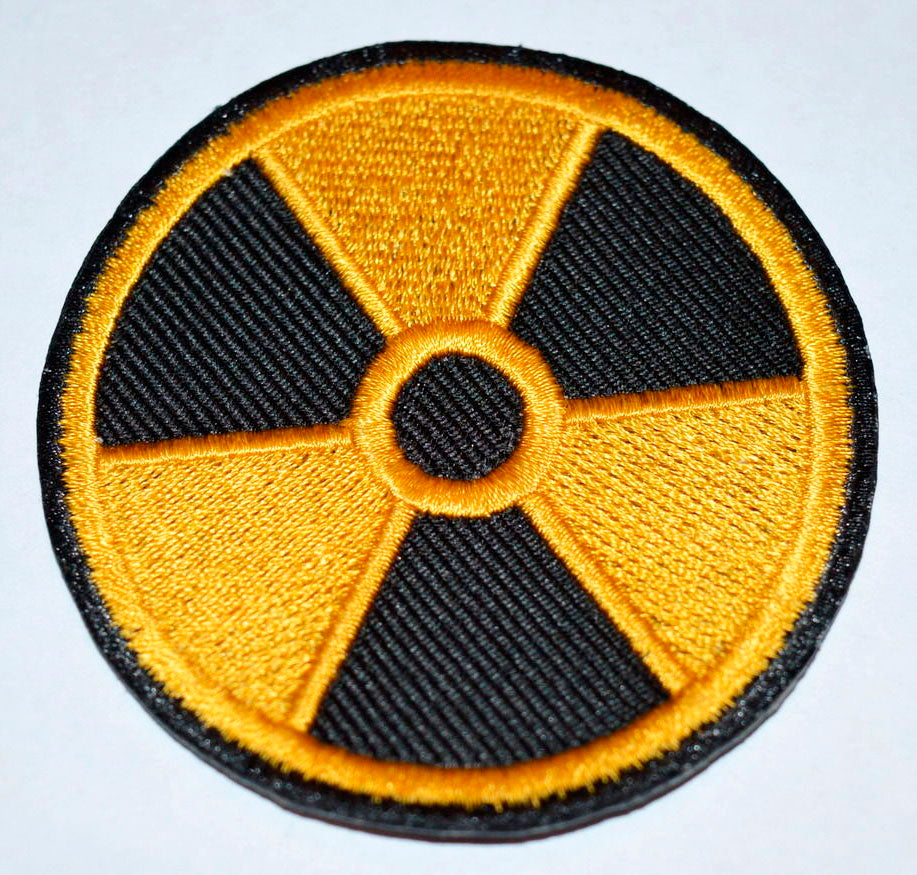 Radiation Yellow & Black World Iron on Sew on Embroidered Patch