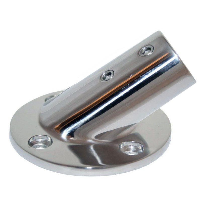 "Whitecap "" O.D. 30 Degree Round Base SS Rail Fitting [6077C] [Mealey_Marine]"