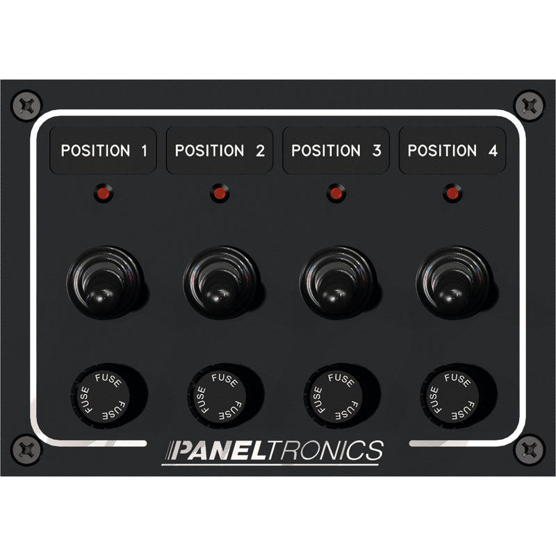 Paneltronics Waterproof Panel - DC 4-Position Toggle Switch & Fuse w/LEDs [9960008B] [Mealey_Marine]