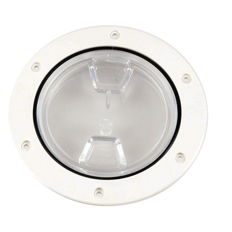 "Beckson 4"" Clear Center Screw-Out Deck Plate - White [DP40-W-C] [Mealey_Marine]"