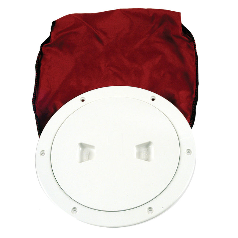 "Beckson 6"" Stow-Away Deck Plate - White w/12"" Bag [DP60BW] [Mealey_Marine]"