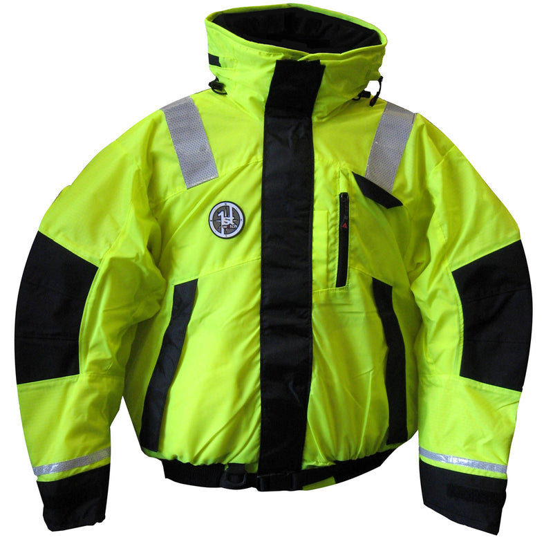 First Watch Hi-Vis Flotation Bomber Jacket - Hi-Vis Yellow/Black - Small [AB-1100-HV-S] [Mealey_Marine]