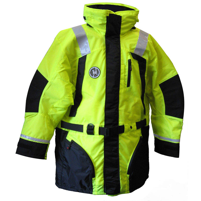 First Watch Hi-Vis Flotation Coat - Hi-Vis Yellow/Black - Medium [AC-1100-HV-M] [Mealey_Marine]