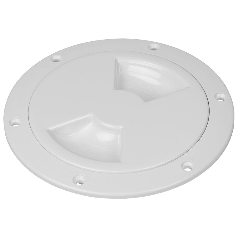 "Sea-Dog Quarter-Turn Smooth Deck Plate w/Internal Collar - White - 4"" [336340-1] - Mealey Marine"