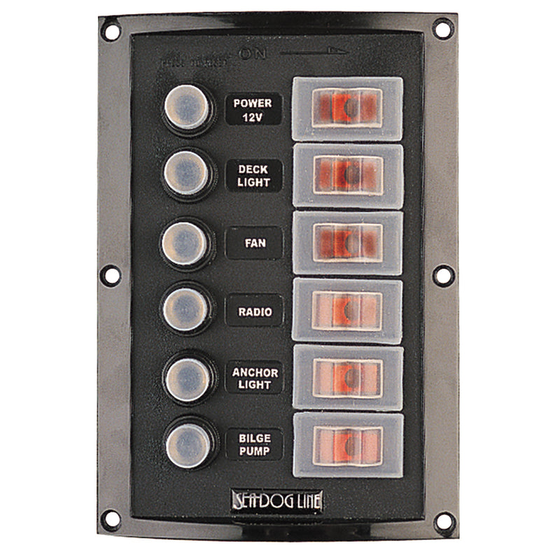 Sea-Dog Splash Guard Circuit Breaker Panel - 6 Circuit [424806-1] - Mealey Marine