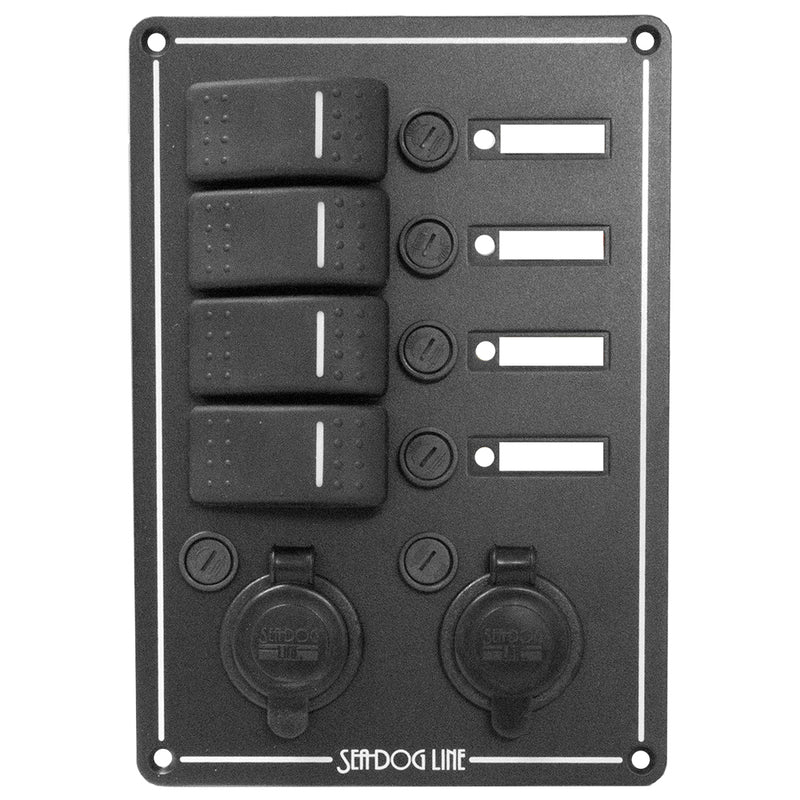 Sea-Dog Switch Panel 4 Circuit w/Dual Power Socket  Illuminated Switches [425146-1] - Mealey Marine