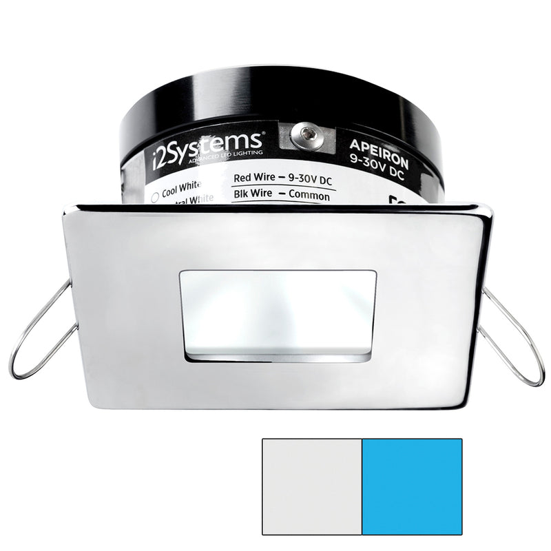i2Systems Apeiron A503 3W Spring Mount Light - Square/Square - Cool White  Blue - Polished Chrome Finish [A503-14AAG-E] [Mealey_Marine]