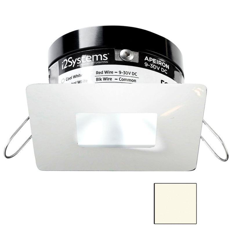 i2Systems Apeiron PRO A503 - 3W Spring Mount Light - Square/Square - Neutral White - White Finish [A503-34BBR] [Mealey_Marine]