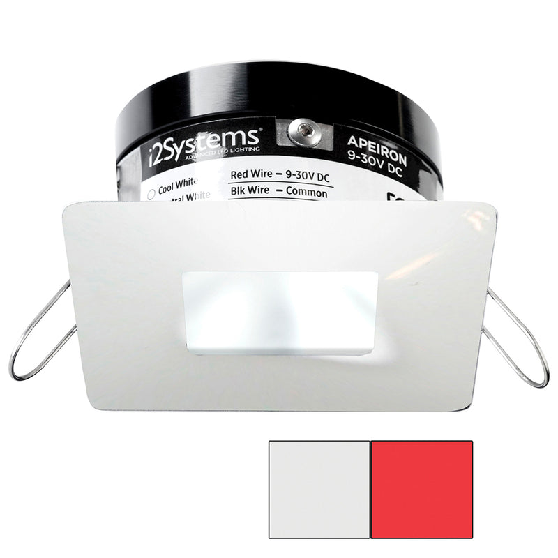 i2Systems Apeiron PRO A503 - 3W Spring Mount Light - Square/Square - Cool White  Red - White Finish [A503-34AAG-H] [Mealey_Marine]