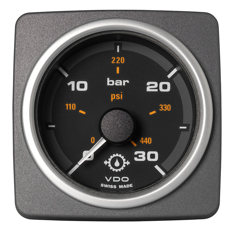 "VDO Marine 2-1/16"" (52mm) AcquaLink Transmission Oil Pressure 30 Bar/450 PSI - 12/24V - Black Dial  Bezel [A2C59501937] [Mealey_Marine]"