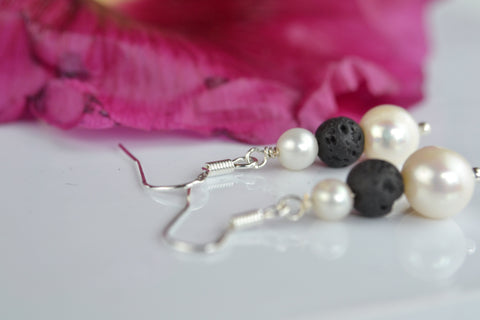 Earrings: Lava and Pearl drop earrings - Precious as a Pearl
