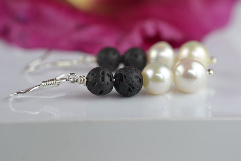 Earrings: Lava and Pearl doubles drop earrings - Precious as a Pearl