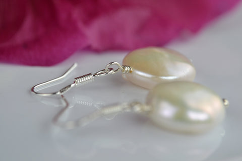 Earrings: Pearl coin drop earrings ivory - classic - Precious as a Pearl