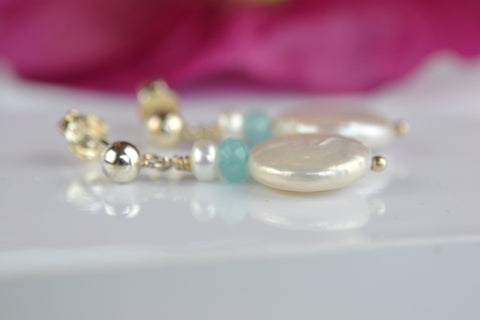 Earrings: Pearl coin drop earrings with button pearl and pale blue crystal - Precious as a Pearl