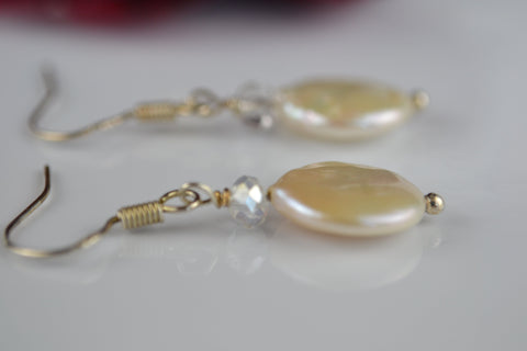 Earrings: pearl coin drop earrings ivory with silver crystals - Precious as a Pearl