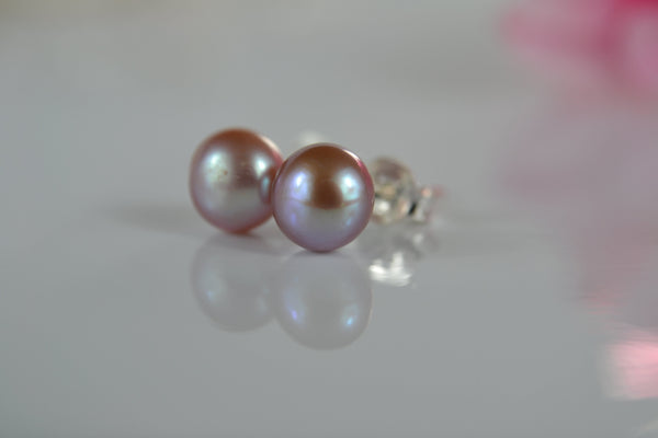 Pearl Stud Earrings: Classic pearl studs with sterling silver posts and butterfly backs - Precious as a Pearl