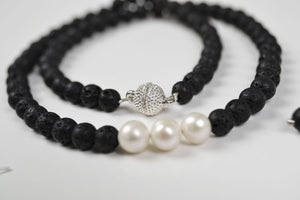 Necklace: Lava and Pearl Necklace - Precious as a Pearl