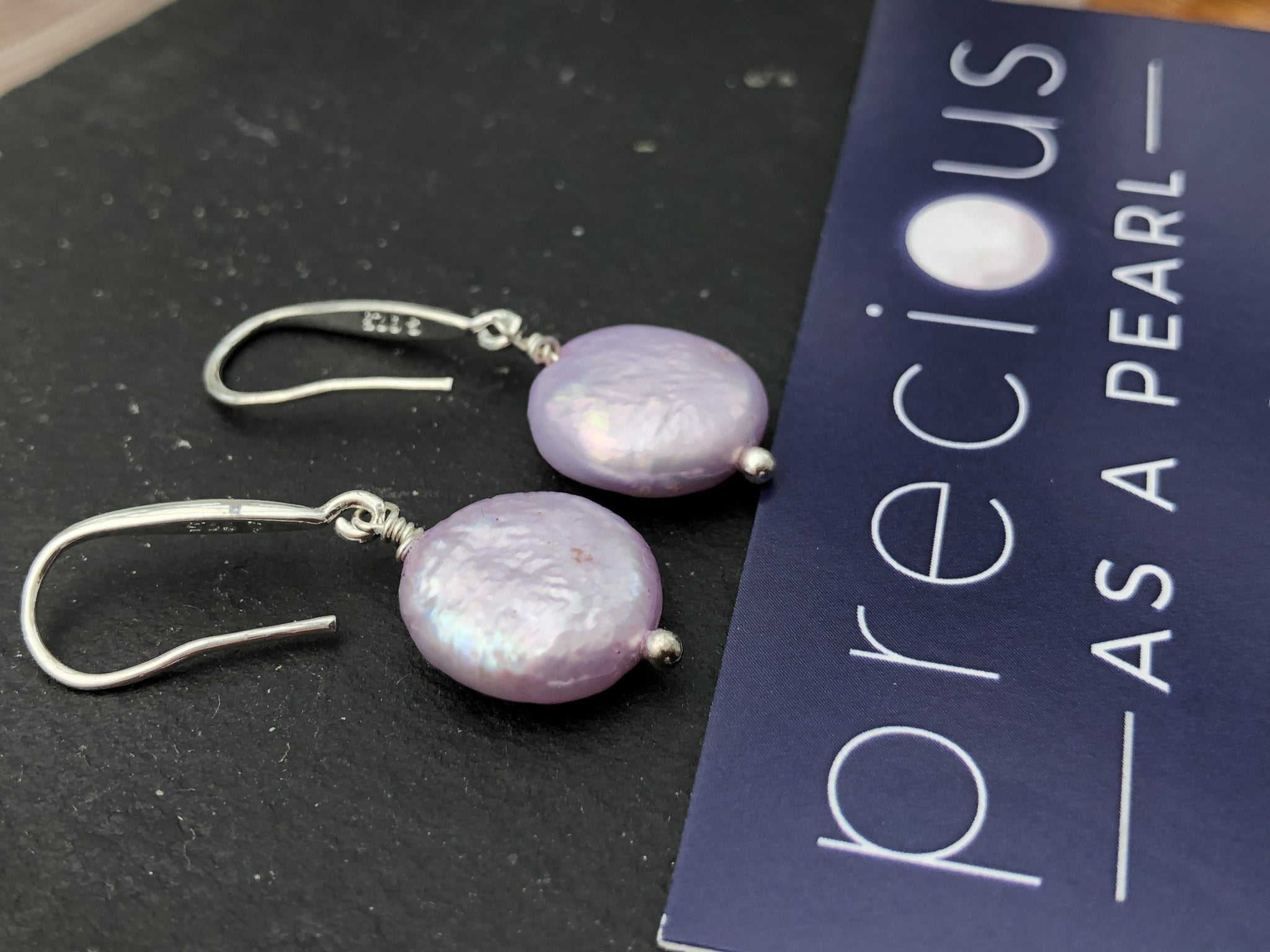 Earrings: Pearl Coin drop earrings Classic pink - Precious as a Pearl
