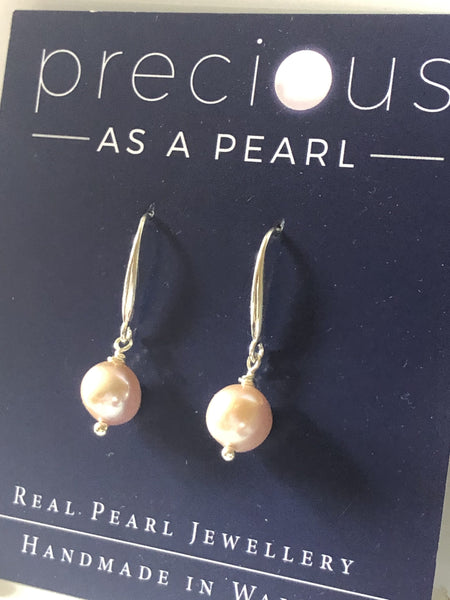 Earrings: Single pearl drop earrings peach classic