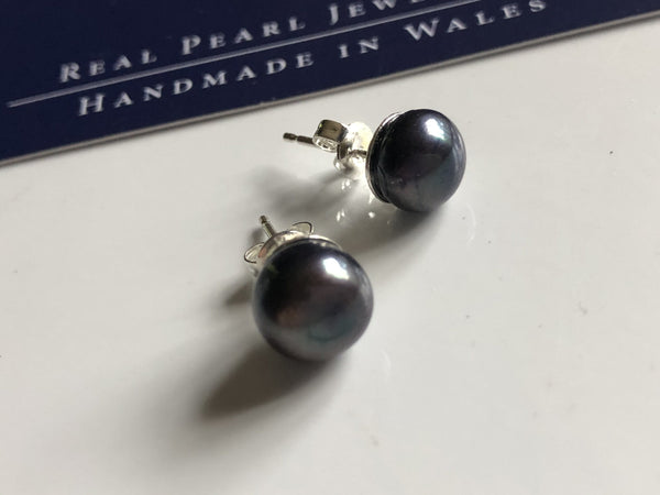 Pearl Stud Earrings: Peacock blue black freshwater pearl stud earrings - Precious as a Pearl