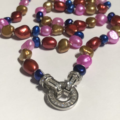Necklace: Multi coloured  freshwater pearl necklace