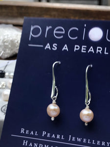 Earrings: Single pearl drop earrings on longer hook classic - Precious as a Pearl