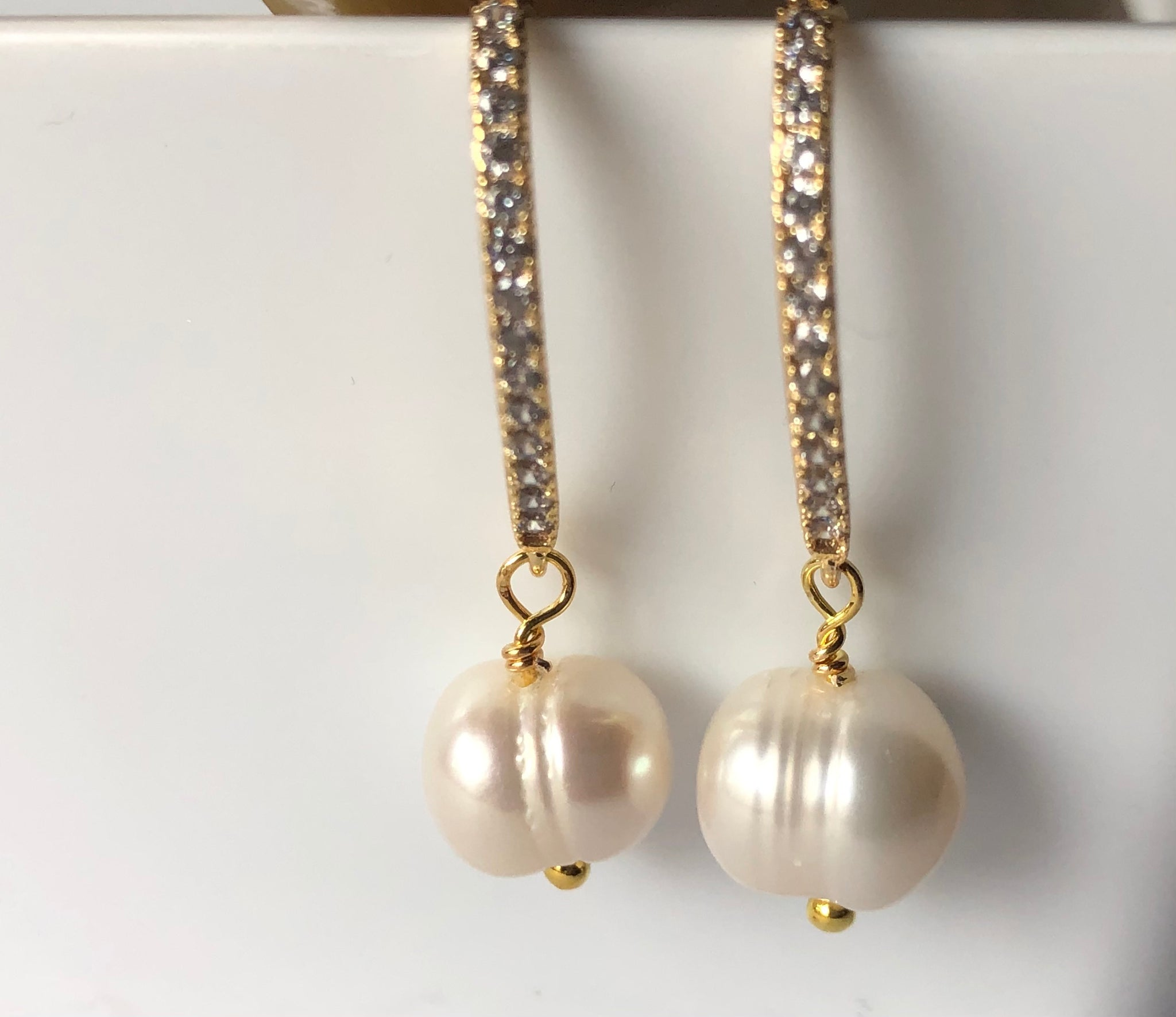 Earrings: Ivory freshwater baroque single pearl drop on gold-filled hooks - classic - Precious as a Pearl