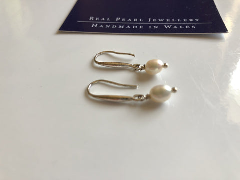 Freshwater dainty single pearl drop earrings: ivory classic