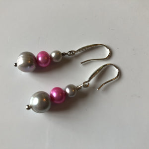 Earrings: Pink and grey triple pearl drop earrings - Precious as a Pearl