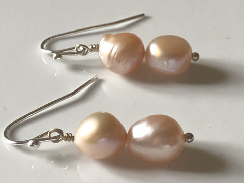 Double peach freshwater pearl drop earrings