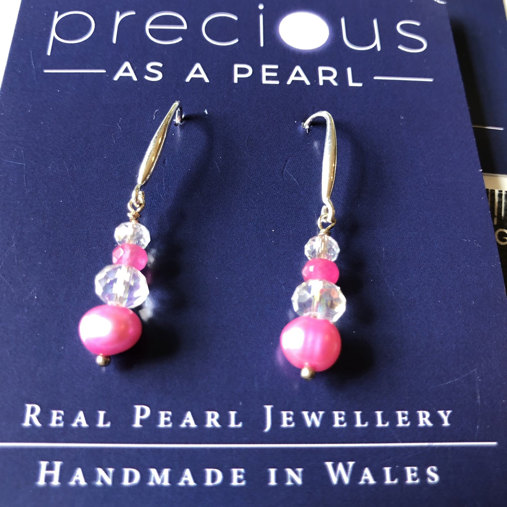 Pink pearl and crystal drop earrings