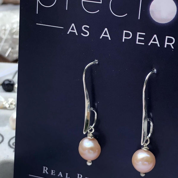 Single pearl drop earrings on longer hook classic
