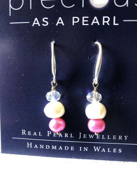 Earrings: Ivory and pink pearl with white crystal drop earrings - Precious as a Pearl