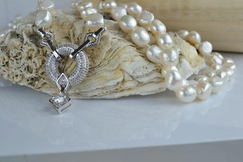 Ivory Pearl necklace - longer length with baroque pearls and sparkling pendant unique - classic