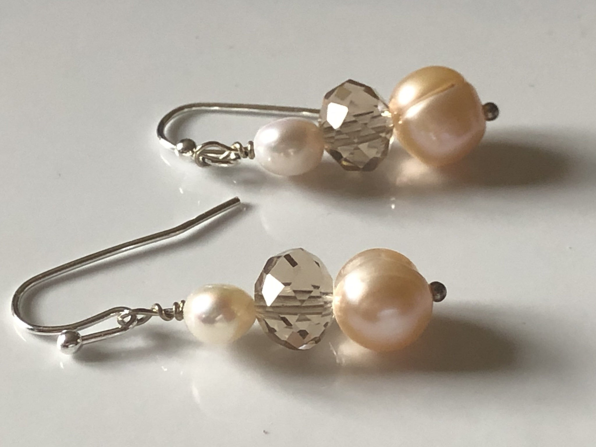 Peach and cream freshwater pearl drop earrings