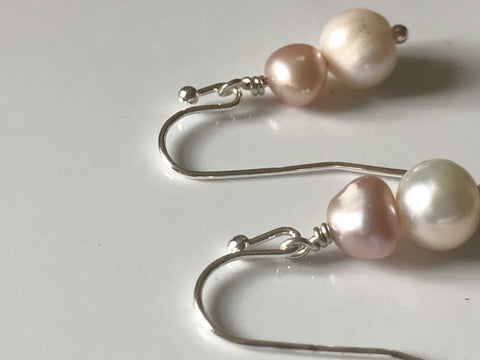 Ivory and lilac/peach freshwater drop pearl earrings