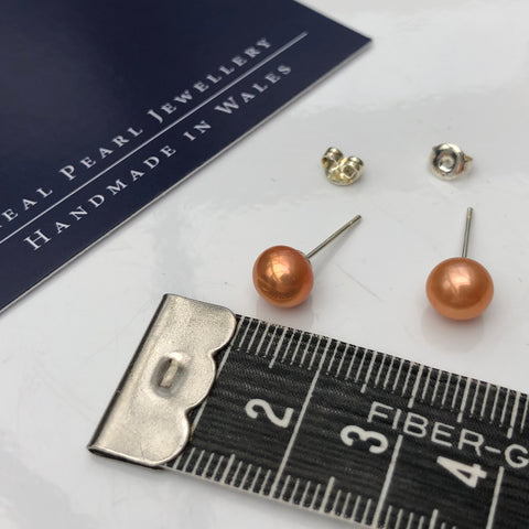 Pearl Stud Earrings: Freshwater bronze shade medium