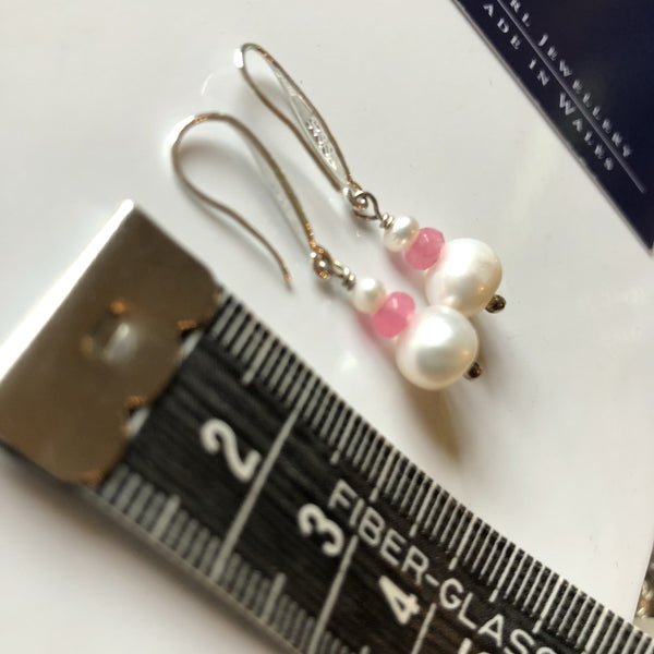 Earrings: Ivory pearl and pale pink crystal drop earrings