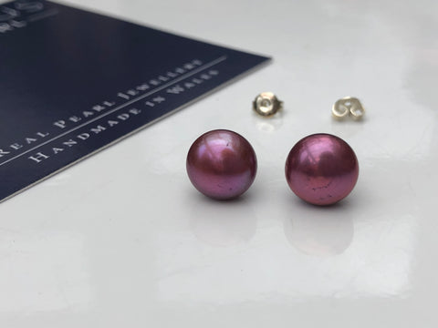 Pearl Stud Earrings: Dusky Pink XL