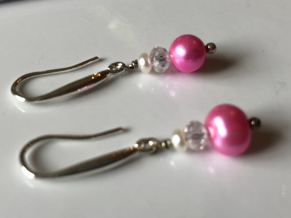 Earrings: Pink pearl drop earrings with crystal and seed pearl