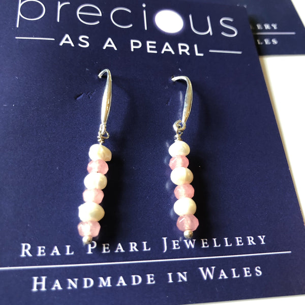 Earrings: Ivory seed pearl with pink crystal drop earrings - Precious as a Pearl