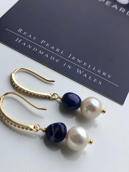 pearl and lapis lazuli earrings on gold-filled hooks