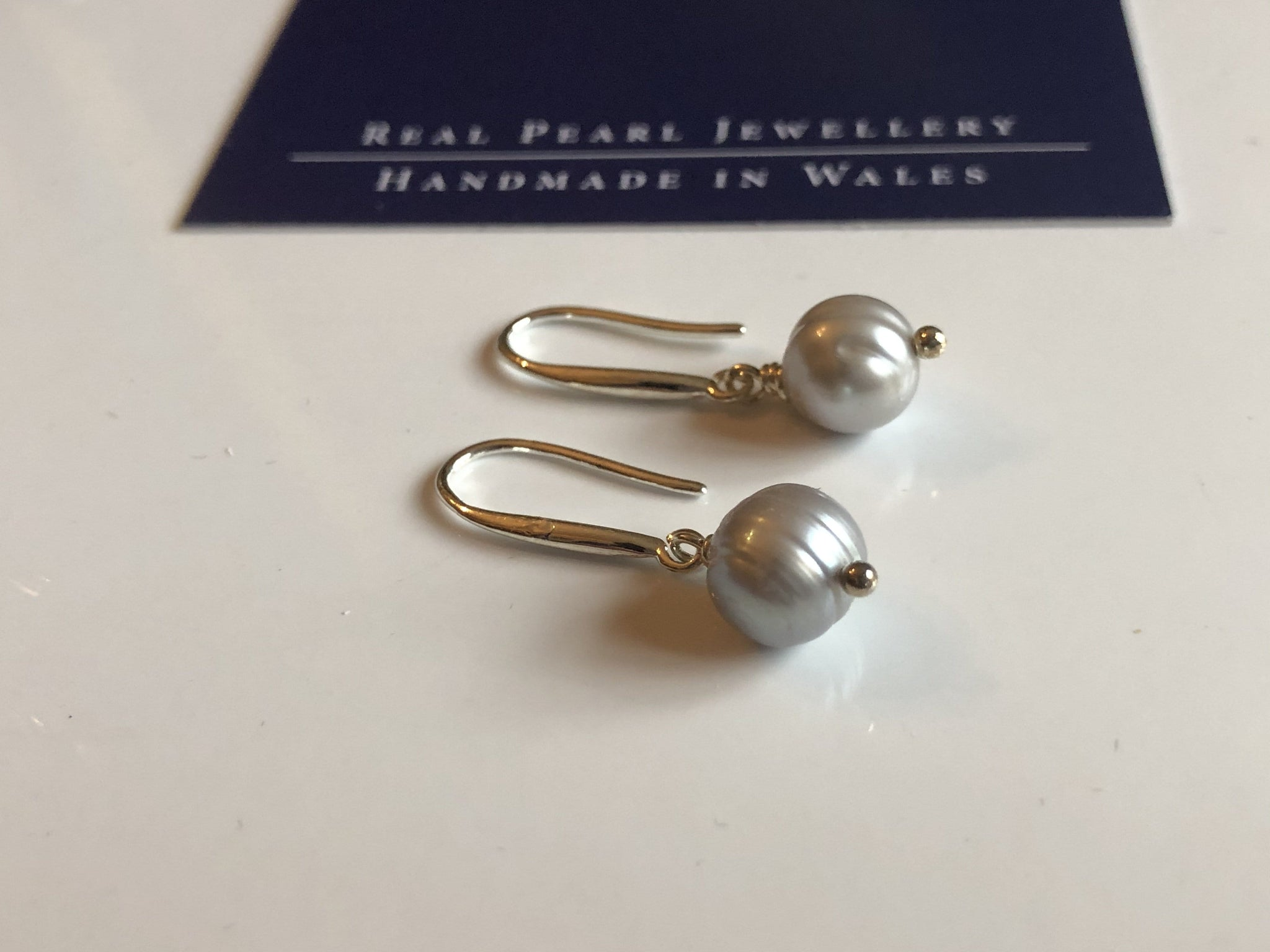 Grey freshwater single pearl drop earrings: classic